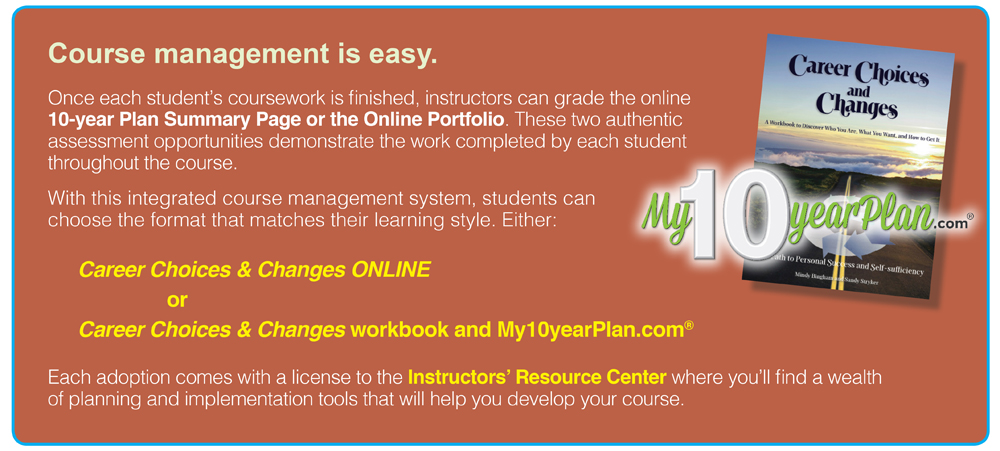 Course management is easy. Once each student's coursework is finished, instructors can grade the online 10-year Plan Summary Page or the Online Portfolio. These two authentic assessment opportunities demonstrate the work completed by each student throughout the course. With this integrated course management system, students can choose the format that matches their learning style. Either: Career Choices & Changes ONLINE or Career Choices & Changes workbook and My10yearPlan.com® Each adoption comes with a license to the Instructors' Resource Center where you'll find a wealth of planning and implementation tools that will help you develop your course.